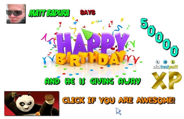 Matt Badura Birthday Splash Page Birthday XP Giveaway