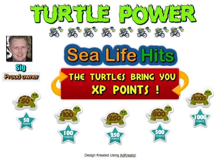 Sea Life Hits XP badges splash page from Val