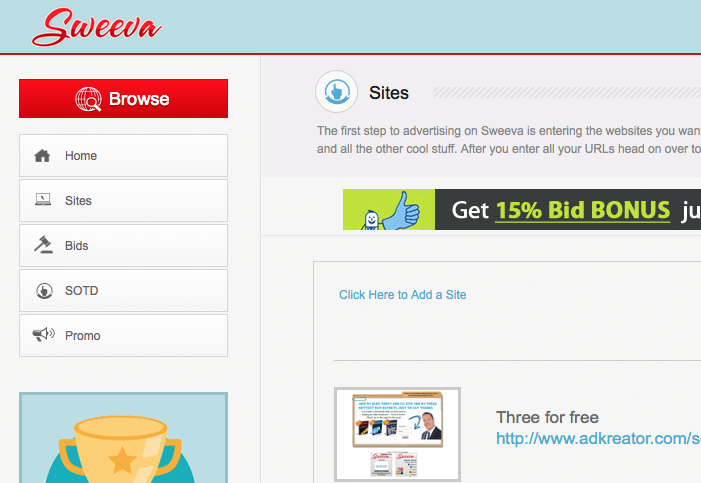 Sweeva add site screenshot