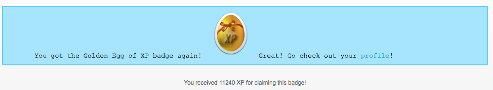 Golden Egg claimed page