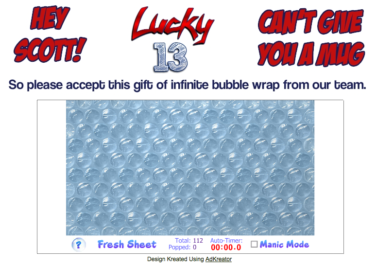 Lucky 13 Bubble Wrap Gift splash page