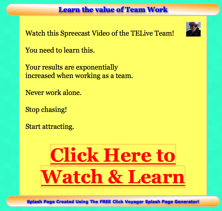 Learn the value of teamwork splash page