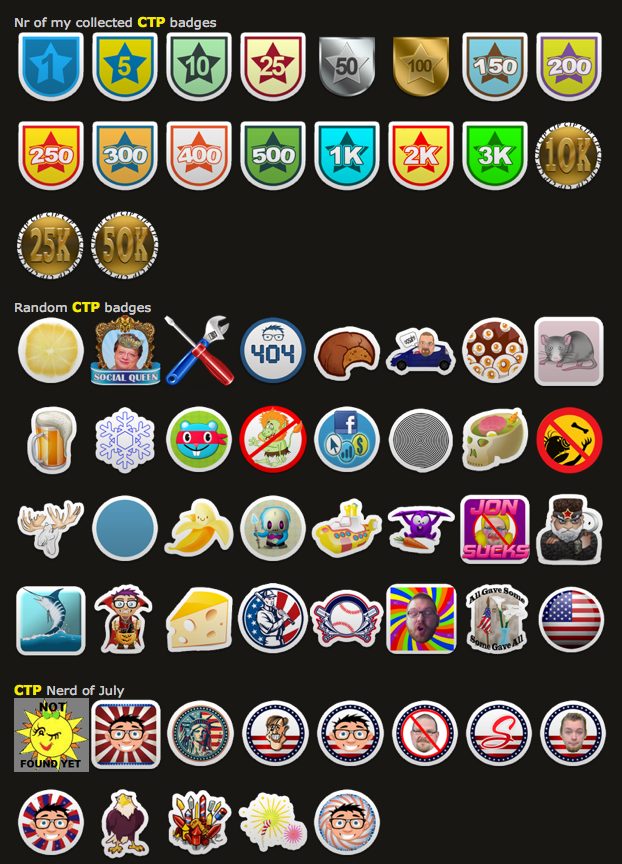 Sunshine Clickers badge page screenshot