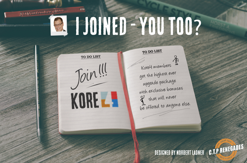 I Joined Kore4 splash page