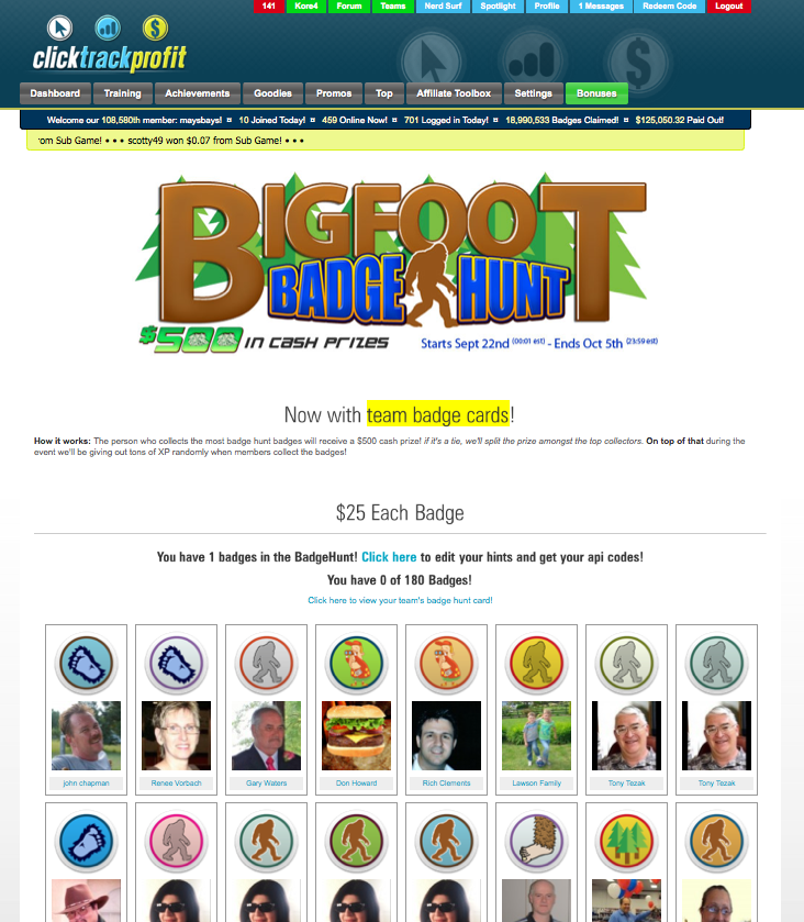 Bigfoot Badge Hunt main page