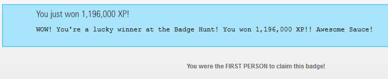 Badge claim page for bigfoot badge hunt