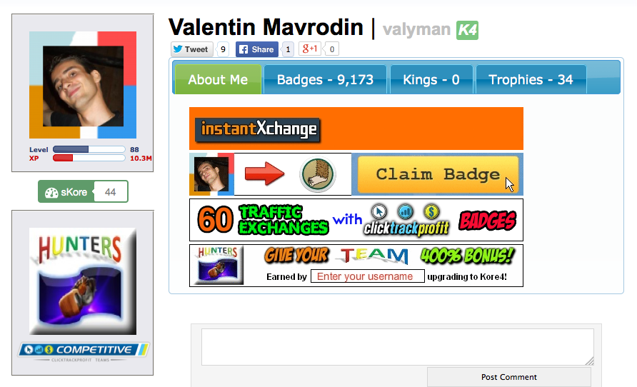 Valentin CTP profile page screenshot