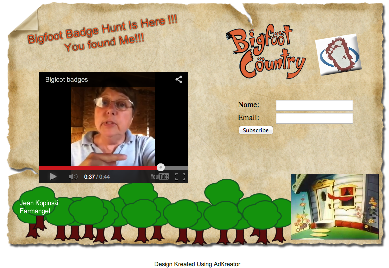 Jean Koplinski Bigfoot Badge Hunt squeeze page
