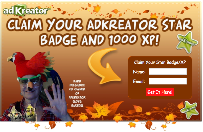 AdKreator Star Badge XP splash page