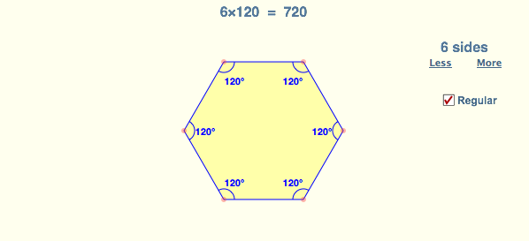 Sum of internal angles in any polygon