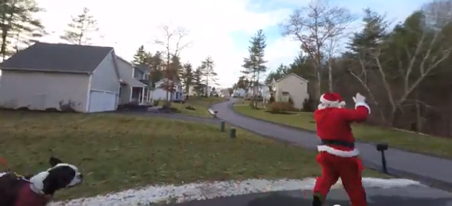 Santa Nerd being chased by Larry's dog for 12 Days of Christmas 2014