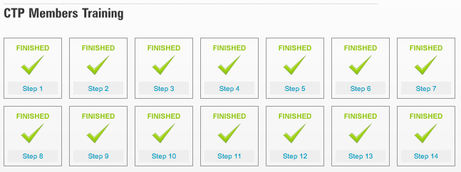 CTP Training Steps screenshot