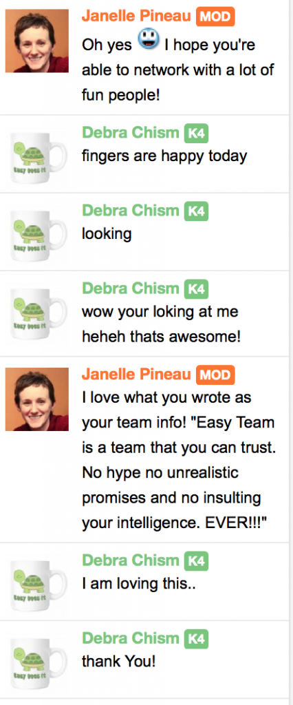 CTP Chat conversation with Easy Team leader Debra Chism