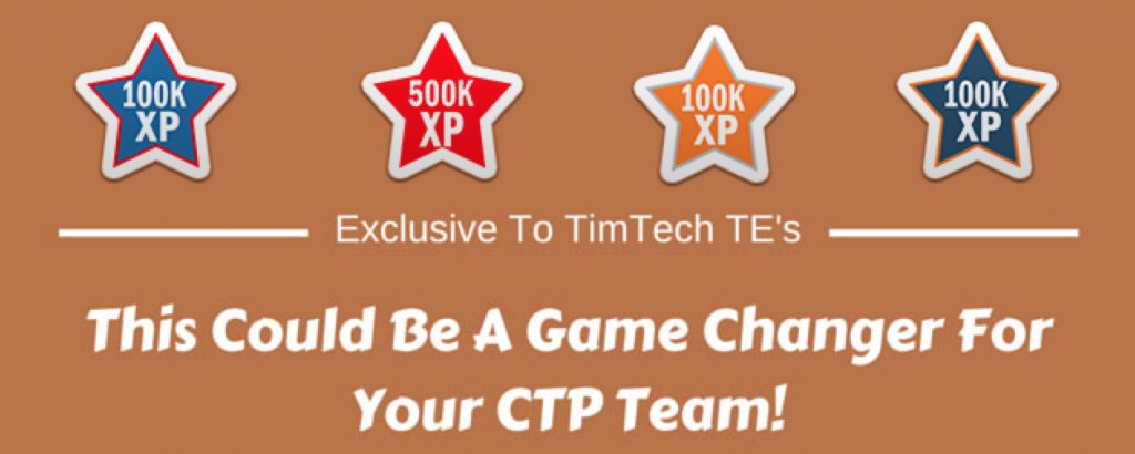 TimTech loyalty XP badges