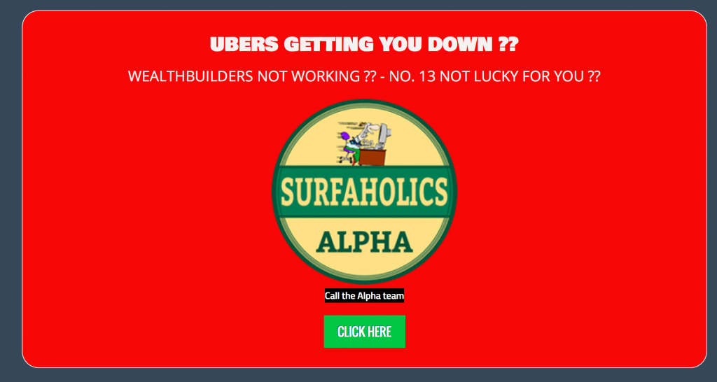 Ubers getting you down splash page