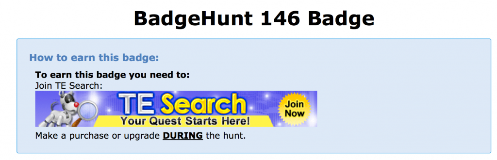Plus 1 badge hunt 146 badge claim page
